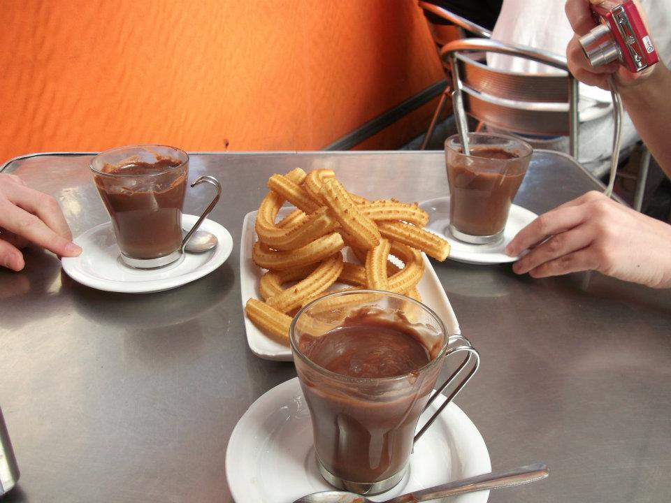 churros, chocolate, spain, cordoba, breakfast
